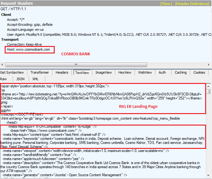 Fig 2. Cosmos Bank's compromised web page